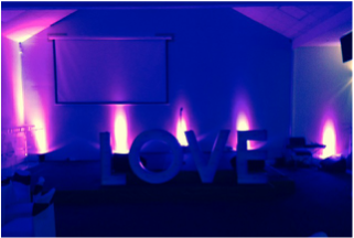 LED word love hire in london