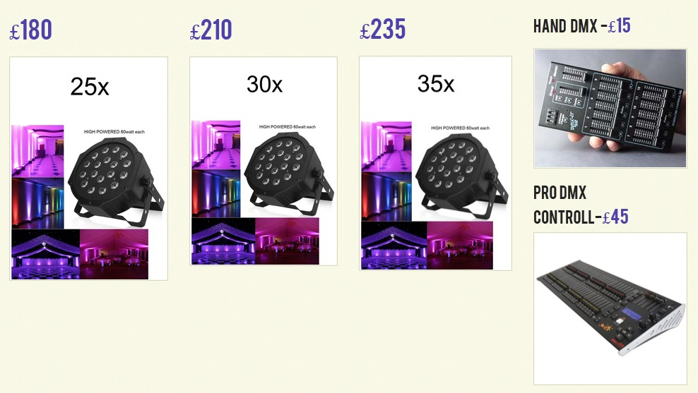 price list for led uplighting hire london